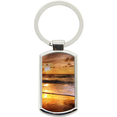 KeyRing Stainless Steel Key Chain Ring - Beach sunset Y01612