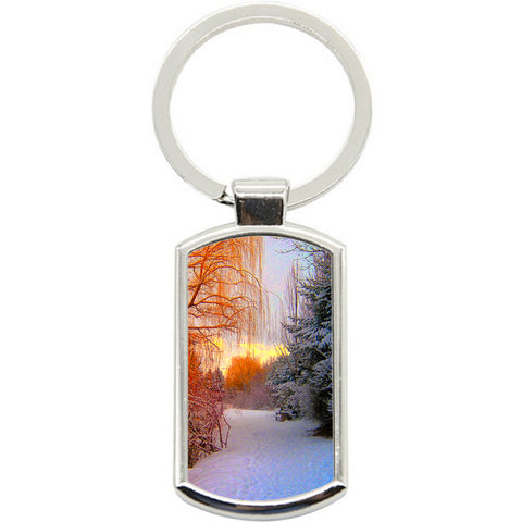 KeyRing Stainless Steel Key Chain Ring - Winter Forest Y01613