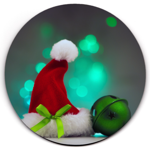 Set of 2 HD SuperClear Drink Coaster Xmas Hat Bell Y00488