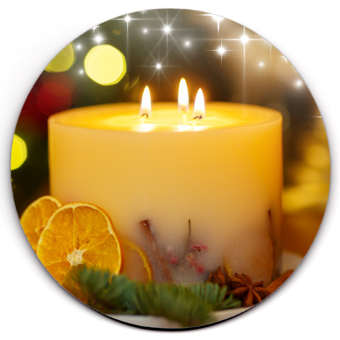 Set of 2 HD SuperClear Drink Coaster Xmas Candle Y01227