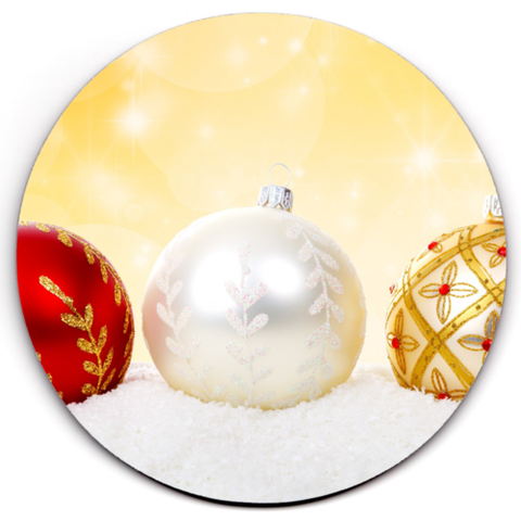 Single HD SuperClear Drink Coaster Xmas Balls Y00480