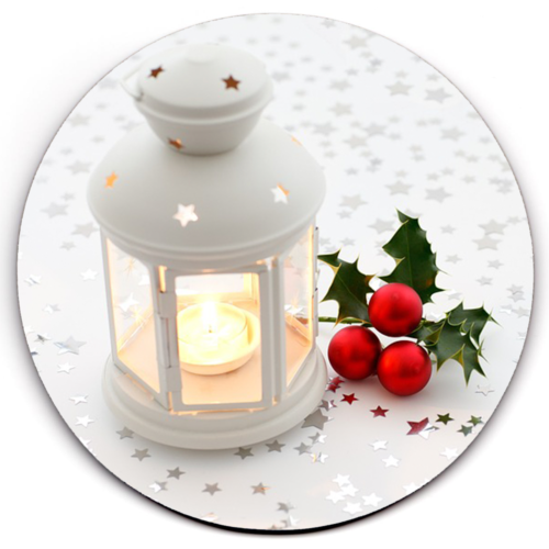 Single HD SuperClear Drink Coaster Christmas Candle Y01226