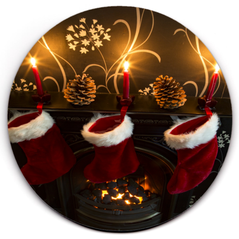Set of 2 HD SuperClear Drink Coaster Xmas Stockings Y00487