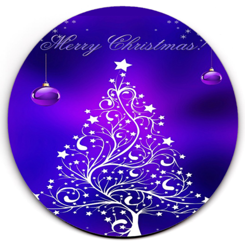Single HD SuperClear Drink Coaster Purple Xmas Y00482
