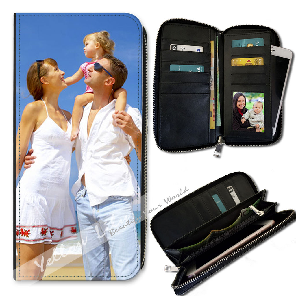 Personalised Ladies Leather Zipper Clutch Wallet & Phone Purse - add PHOTO IMAGE