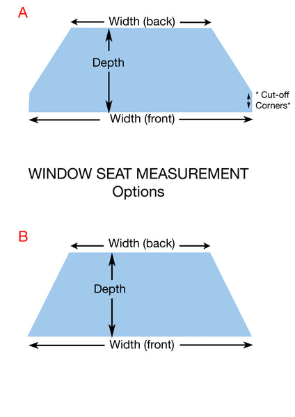 SquareFox Window Seat Cushions Measurement Diagram