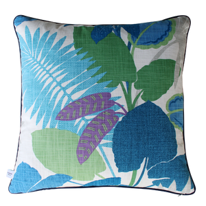 SquareFox Pale Blue Tropics Square Linen Cushion back