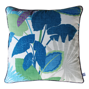 SquareFox Pale Blue Tropics Square Linen Cushion
