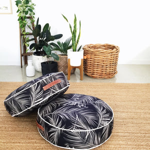 Square Fox Round outdoor floor cushion ottoman palm black white
