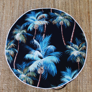 Square Fox Round outdoor floor cushion Midnight Palm top