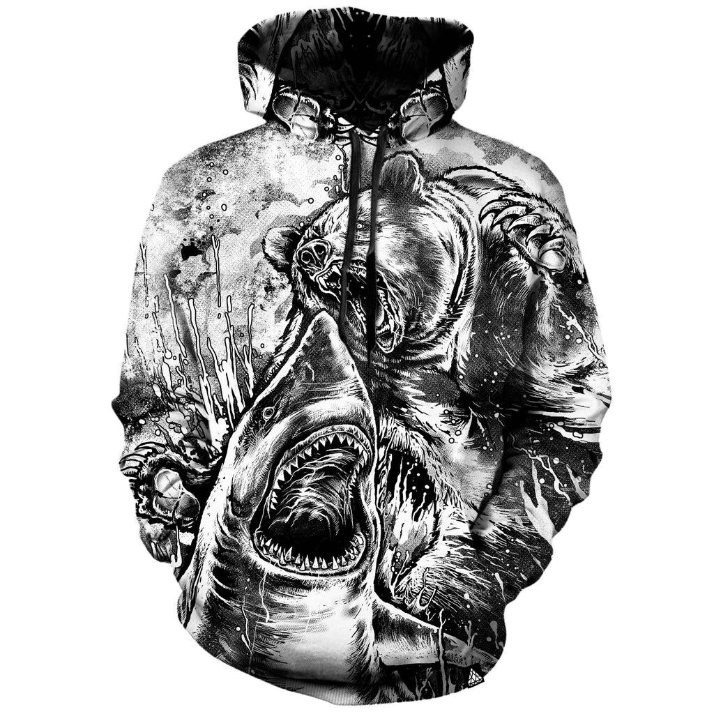 BEAR VS SHARK - BLACK AND WHITE HOODIE