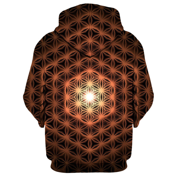 FLOWER OF LIFE ORANGE GLOW HOODIE