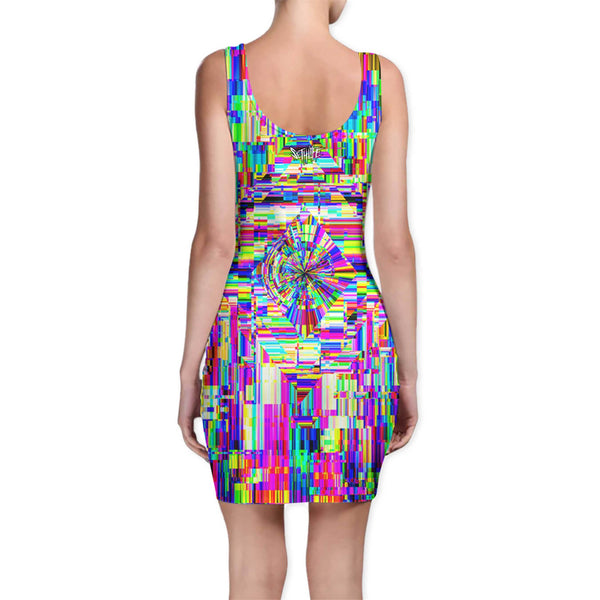 ABSTRACT GLITCH BODYCON DRESS