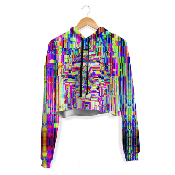 ABSTRACT GLITCH CROP HOODIE
