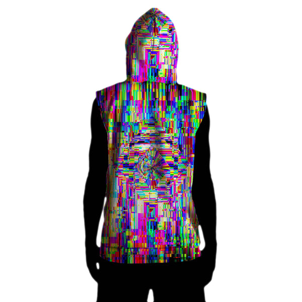 ABSTRACT GLITCH SLEEVELESS HOODIE