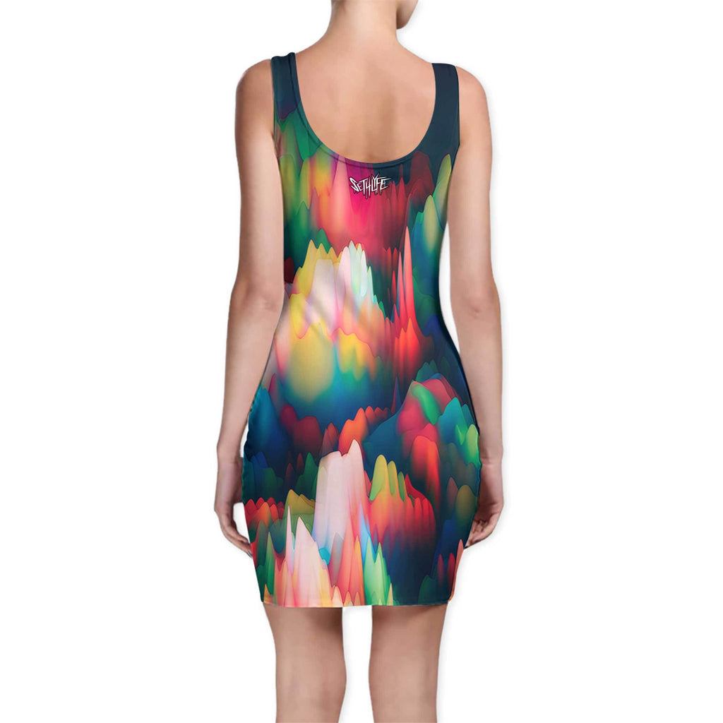 ABSTRACT WAVES BODYCON DRESS