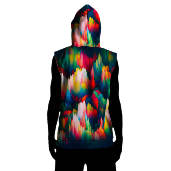 ABSTRACT WAVES SLEEVELESS HOODIE