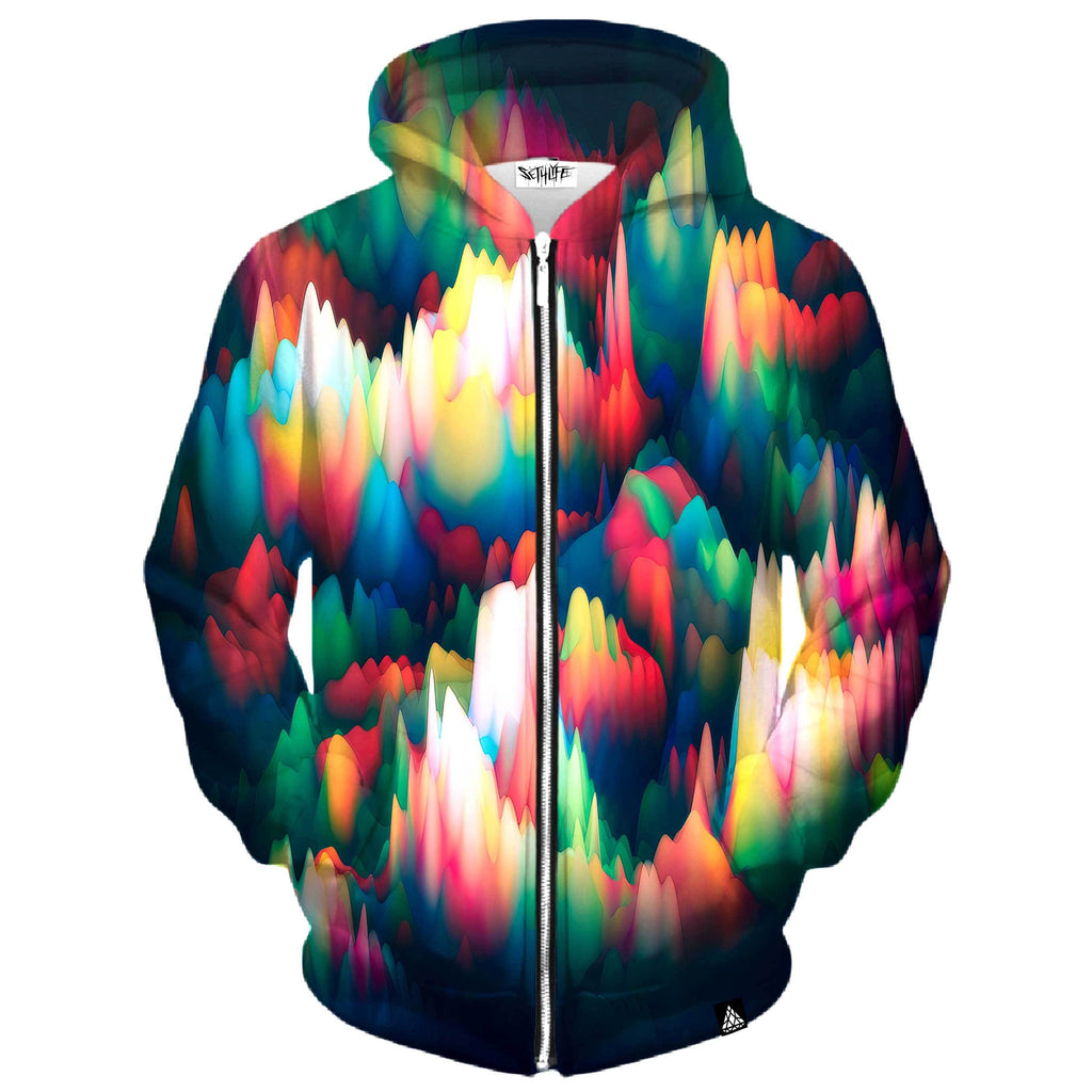 ABSTRACT WAVES ZIP UP HOODIE