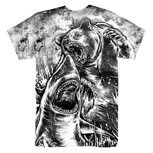 BEAR VS SHARK (BLACK & WHITE) T