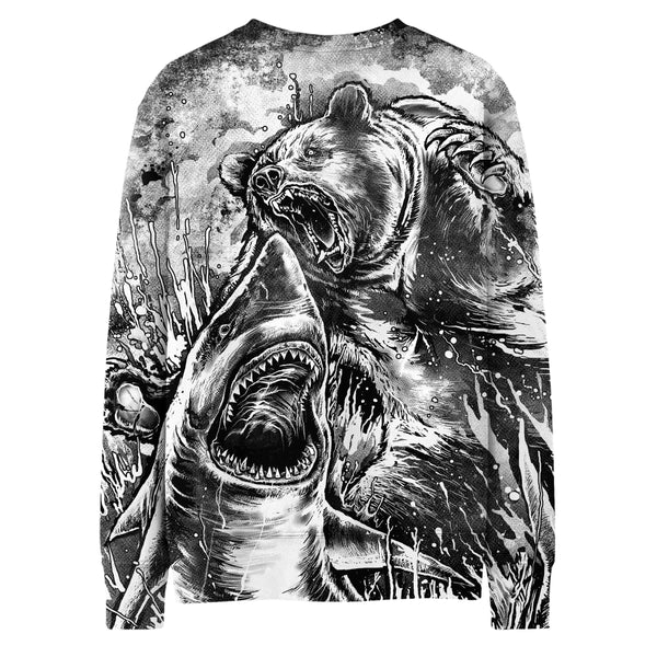 BEAR VS SHARK (BLACK & WHITE EDITION) SWEATSHIRT