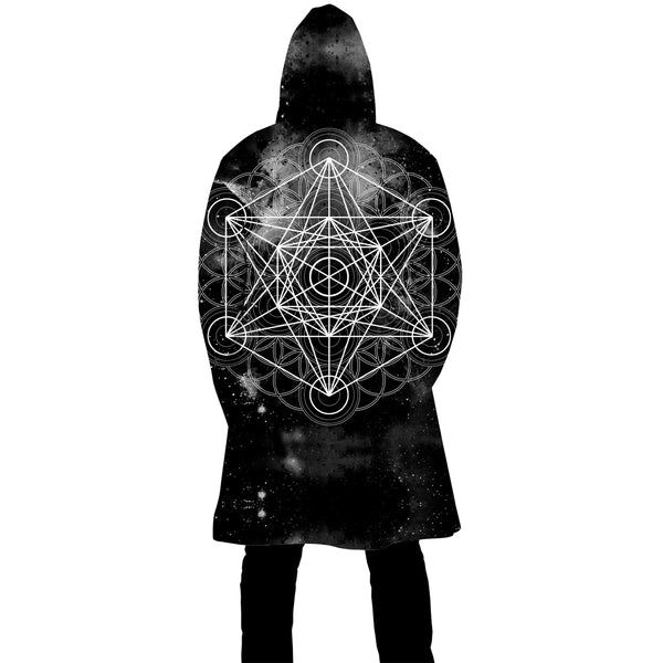 BLACK SPACE METATRONS CUBE ZIP UP CLOAK