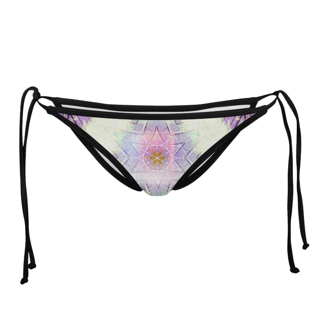 COTTON CANDY & LAVENDER BLACK STRING BIKINI BOTTOMS