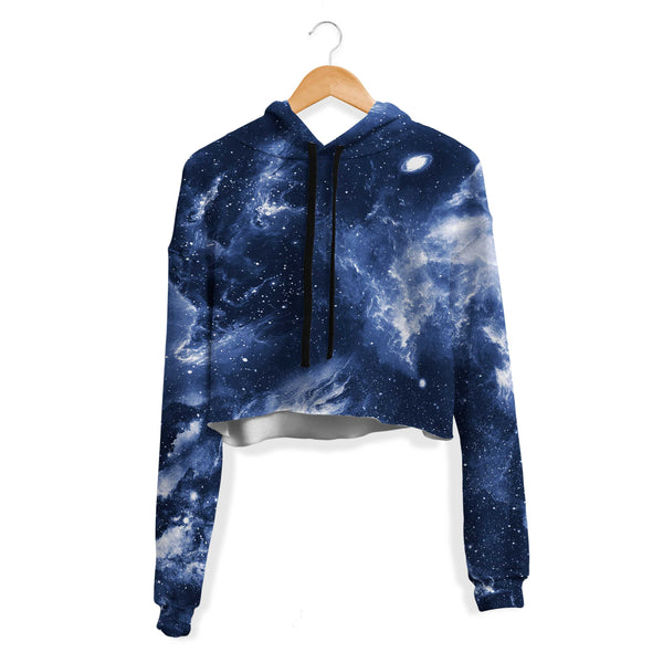 DEEP BLUE SPACE CROP HOODIE