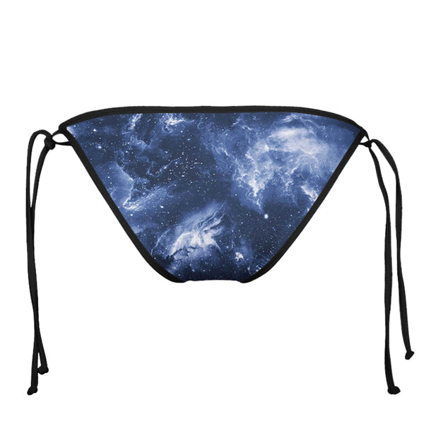 DEEP BLUE SPACE BLACK STRING BIKINI BOTTOMS