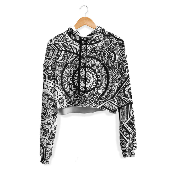 FEATHER MANDALA CROP HOODIE
