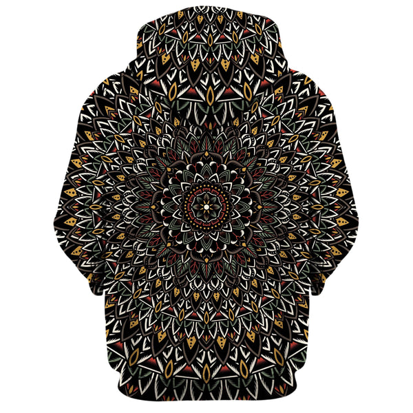 FLOWER MANDALA ZIP UP HOODIE