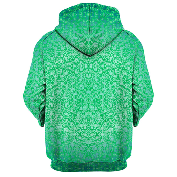 GREEN COSMIC STARGRID ZIP UP HOODIE