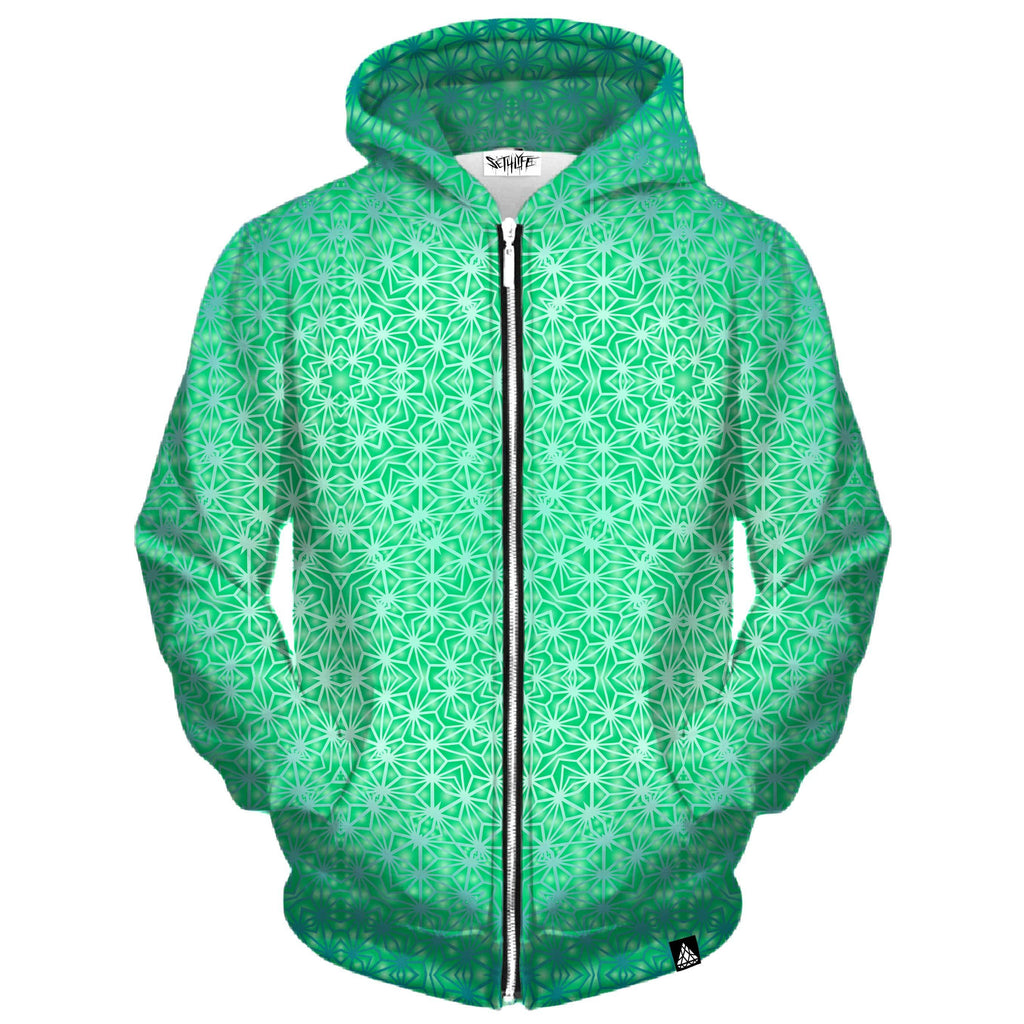 GREEN COSMIC STARGRID ZIP UP HOODIE (Clearance)