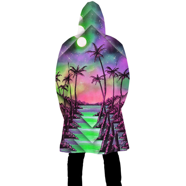 PALM TREE GLITCH ZIP UP CLOAK