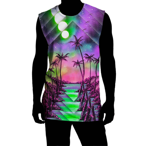 PALM TREE GLITCH SLEEVELESS TEE