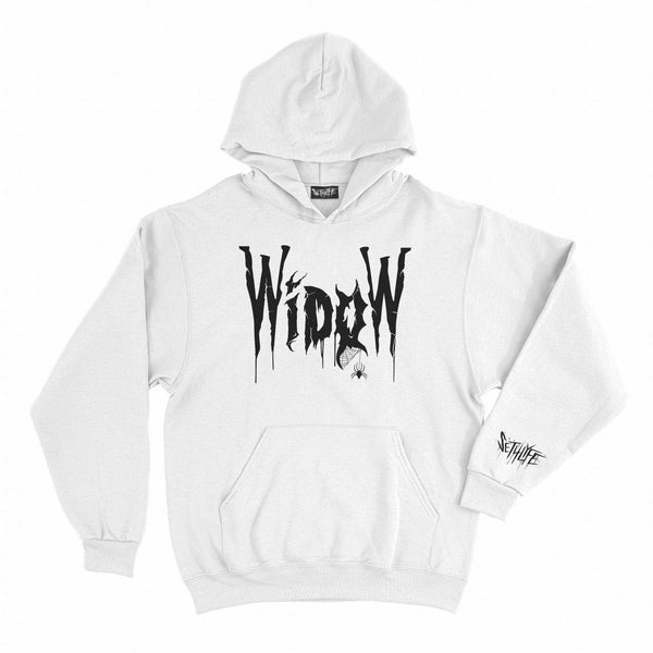 WIDOW GANG WHITE GRAPHIC HOODIE