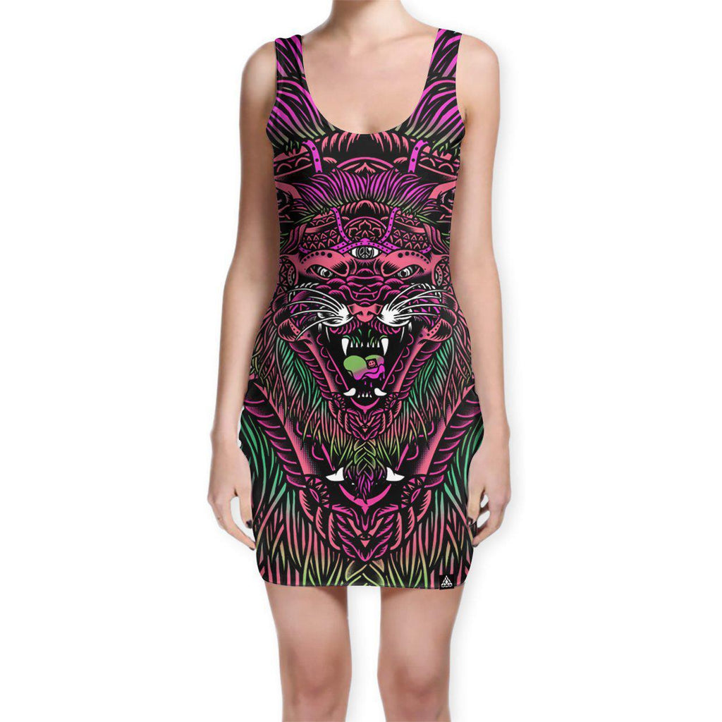 Set 4 Lyfe - ACID TIGER BODYCON DRESS - Clothing Brand - Bodycon Dress - SET4LYFE Apparel