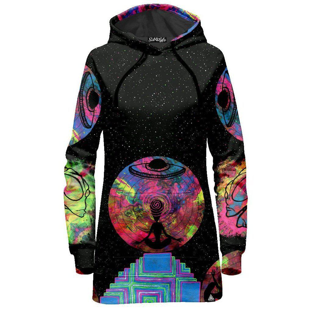 Set 4 Lyfe / JG Creationz - ALIEN MEDITATE HOODIE DRESS - Clothing Brand - Hoodie Dress - SET4LYFE Apparel