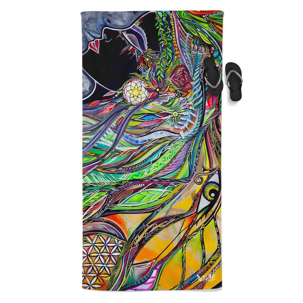 Set 4 Lyfe / Laura McGowan Art - NEON SYNCHRONICITY BEACH THROW TOWEL - Clothing Brand - Beach Towel - SET4LYFE Apparel