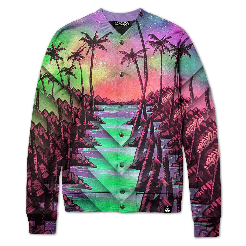 Set 4 Lyfe / Ryan Weisser - PALM TREE GLITCH VARSITY JACKET - Clothing Brand - Varsity Jacket - SET4LYFE Apparel