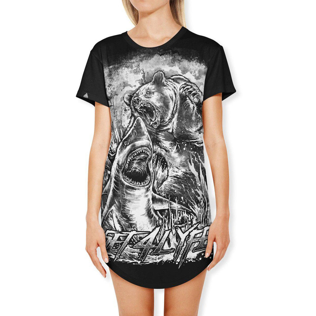 Set 4 Lyfe - BEAR VS SHARK (B & W EDITION) T DRESS - Clothing Brand - T Dress - SET4LYFE Apparel