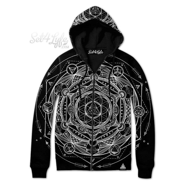 ESOTERIC DARK ZIP UP HOODIE (READY TO SHIP)