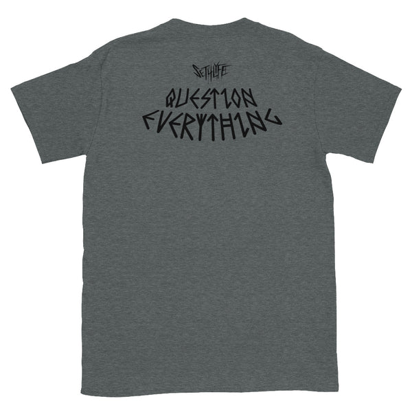 QUESTION EVERYTHING LOW KEY GRAPHIC T
