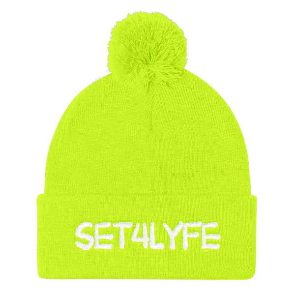 Set 4 Lyfe - NEON CYPT LOGO POM POM BEANIE - Clothing Brand - Hat - SET4LYFE Apparel