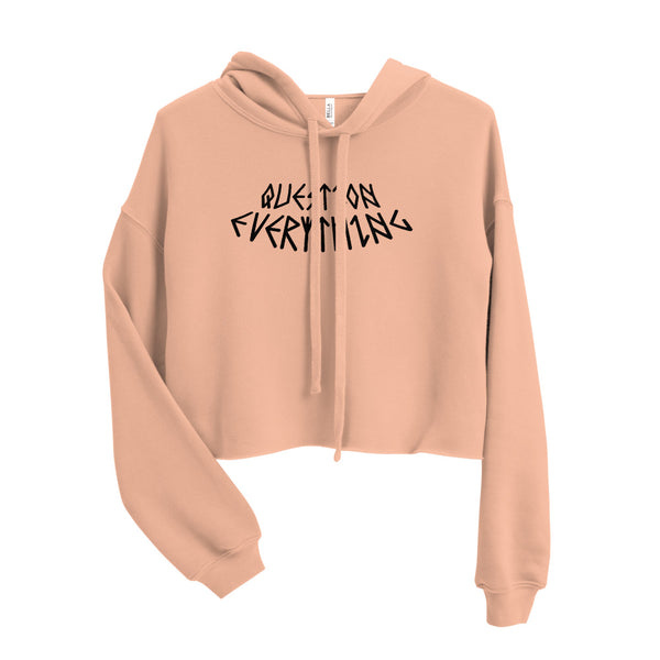 QUESTION EVERYTHING GRAPHIC CROP HOODIE