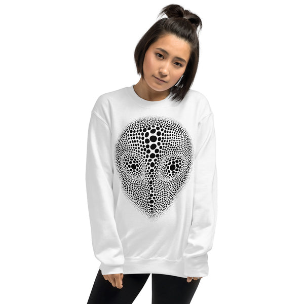 ALIEN HEAD ILLUSION WHITE GRAPHIC SWEATSHIRT