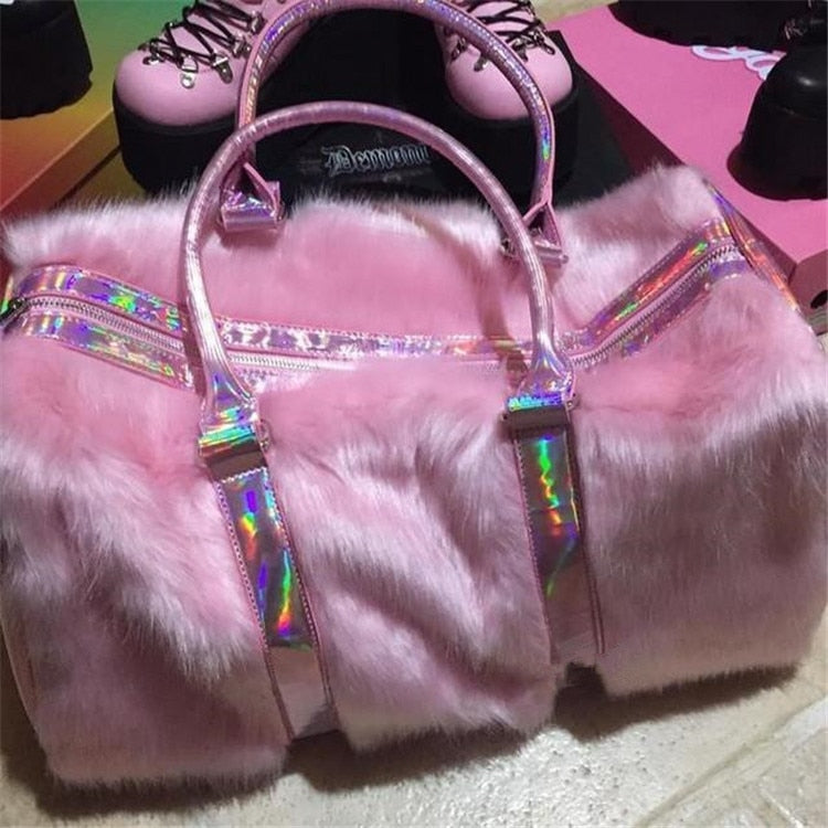 FURRY PINK DELUXE TRAVEL BAG