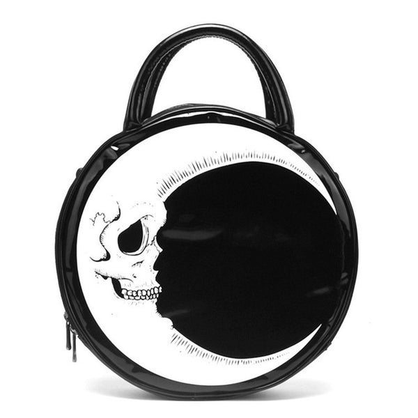 SKELLY MOON ROUND GOTH HANDBAG