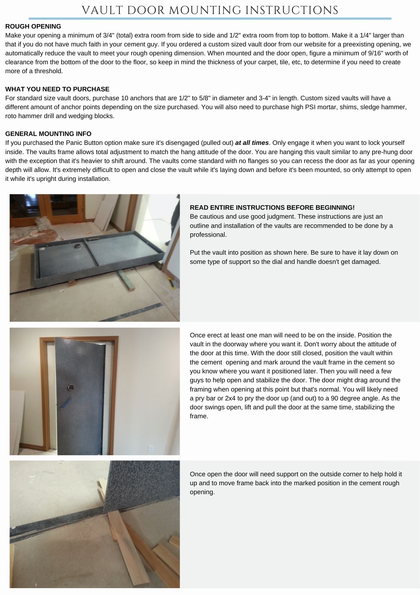 Vault door mounting instructions