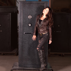 Sturdy Gun Safe with female model