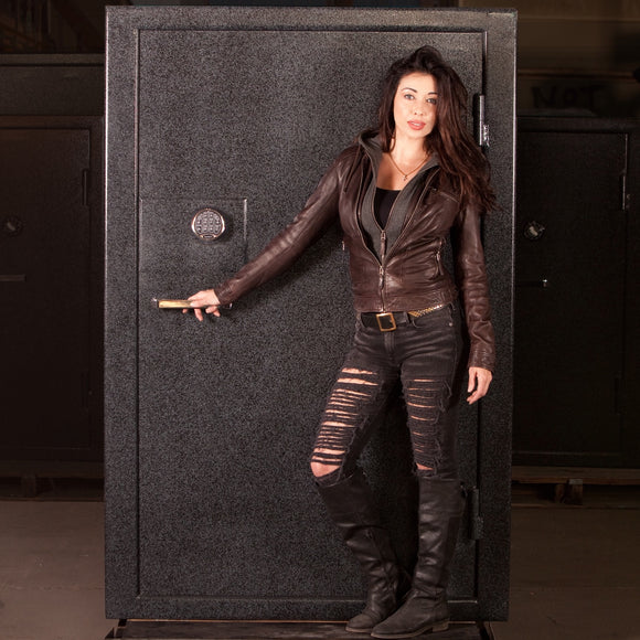 Large Home Gun Safe with female model